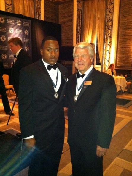 Shane Zackery poses for a photo with 2012 NFF Hall of Fame Inductee, Jimmy Johnson, former head football coach at Oklahoma State, University of Miami, Dallas Cowboys and Miami Dolphins. � at Waldorf Astoria New York.