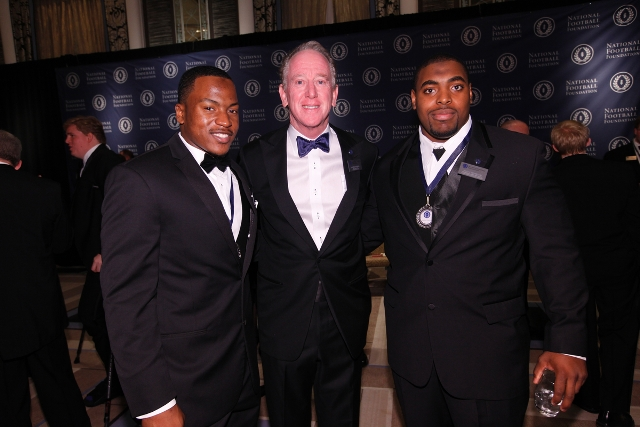 Zackery takes a quick photo with NFF Chairman Archie Manning and fellow 2012 NFF National Scholar-Athlete Finalist, Nabal Jefferson. � at Waldorf Astoria New York.
