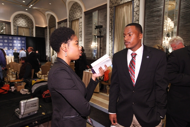 Zackery meets one-on-one with a local reporter following Tuesday's press conference. � at Waldorf Astoria New York.