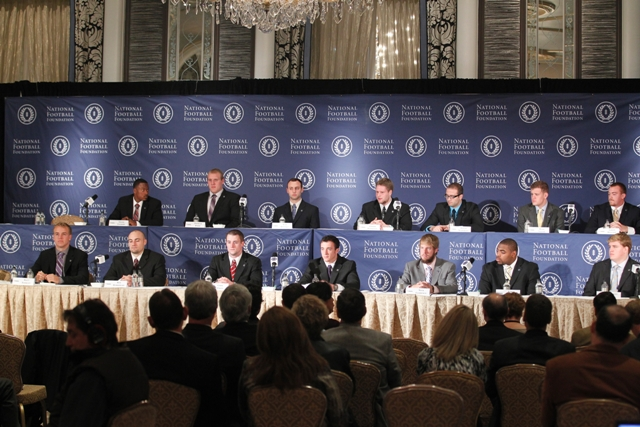 The 15 NFF National Scholar-Athlete finalists during Tuesday's official press conference.