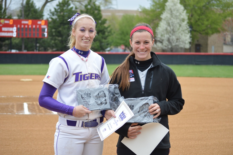 2014 CCAC Player of the Year from ONU Hannah Garner (left) and CCAC Pitcher of the Year from SXU Nicole Nonnemacher (right)