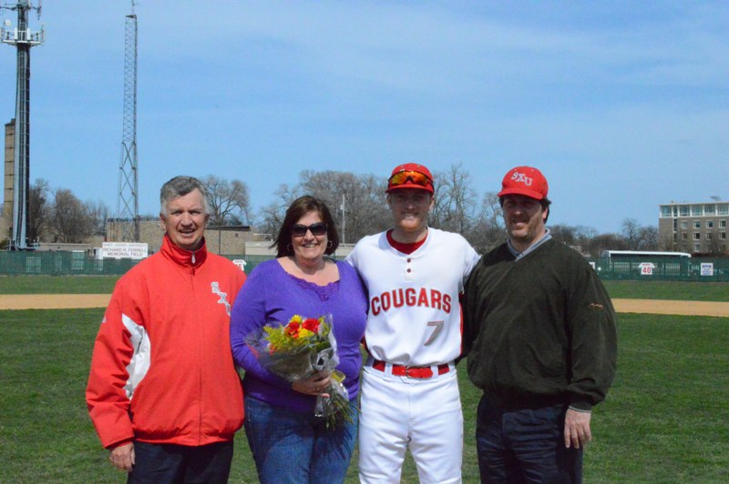 Senior righty Lucas Fritsch with parents, Joan and Ken
