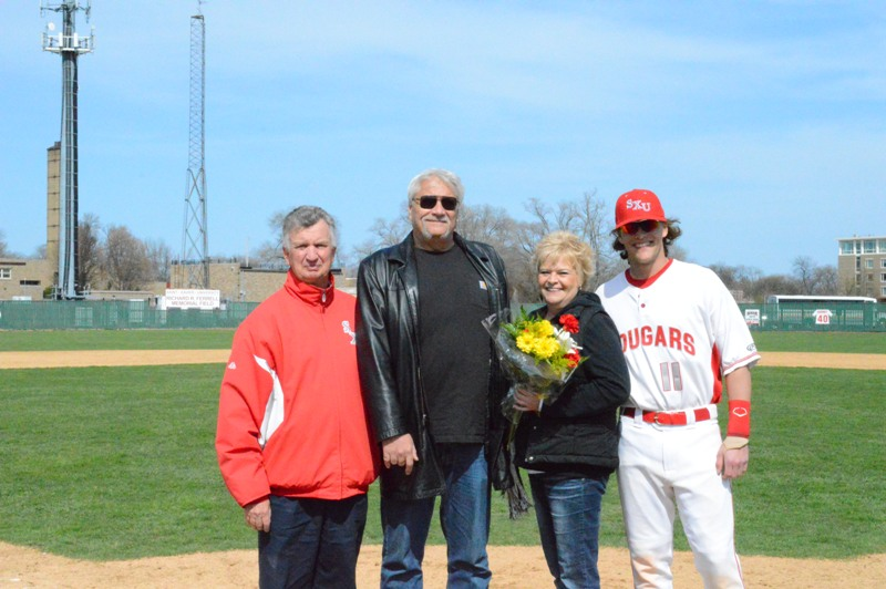 Senior third baseman Mike Pokers with parents, LuAnn and Brian