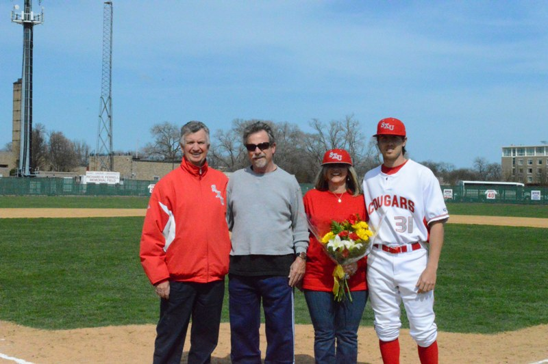 Senior righty Mike Stirling with parents, Mary Kay and Dave