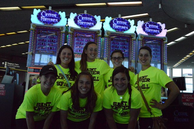 Half of the SXU softball team had a two-hour layover in Vegas.