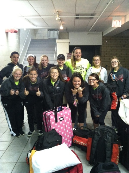 A very early morning for the SXU softball team prior to leaving for Portland, Ore.