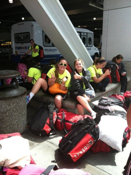Amanda Hainlen and Sarah Saunders waiting for the shuttle to the hotel in Portland.