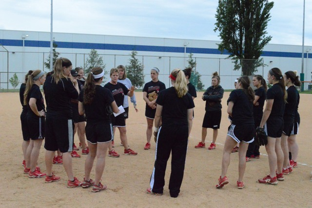 Coach Myra Minuskin addresses the team before practice.