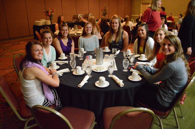 One of the two team tables at the tournament banquet.