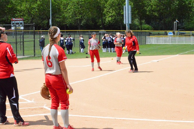 Taking infield prior to Monday's game with MidAmerica Nazarene.