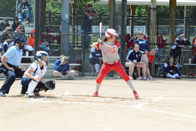 Senior Ashley Sullivan at the plate early in Monday's game.