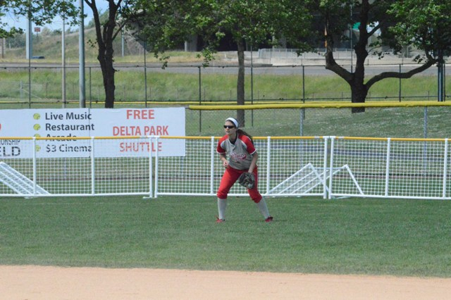Sophomore Shannon Lauret has the center of the outfield secured.