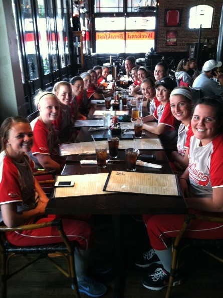 The team poses for a photo before ordering dinner in downtown Portland.