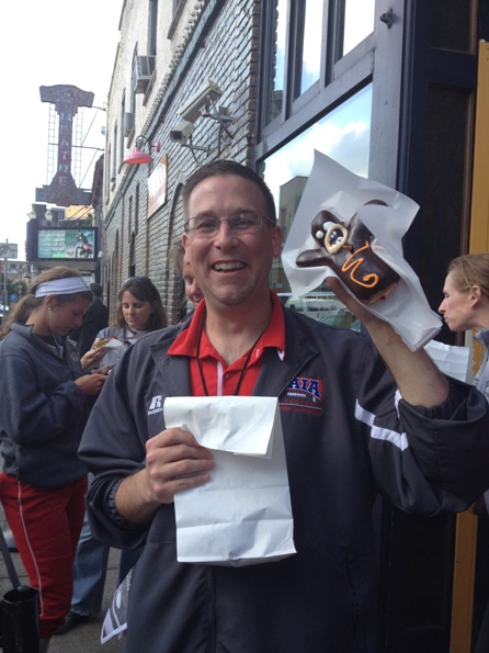 SID Rob Huizenga shows off his original Voodoo Doll donut!