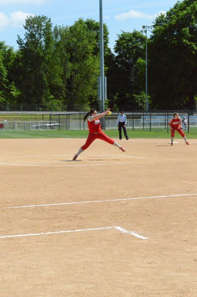 Junior Megan Nonnemacher pitching during her 12 K performance