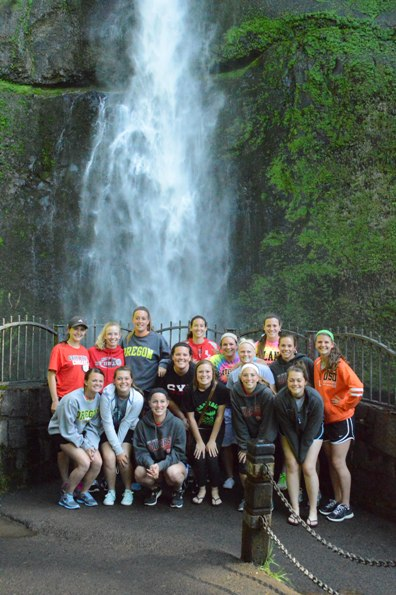 The team poses closer to the Falls