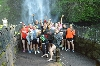 A relaxed shot of the team by the Falls