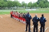 The SXU players line up for the National Anthem Wednesday
