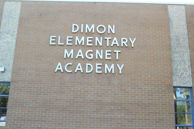 The sign outside of, you guessed it, the Dimon Elementary Magnet Academy in the morning.