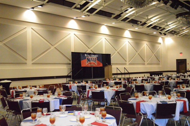 A view of the banquet hall prior to the evening's events.