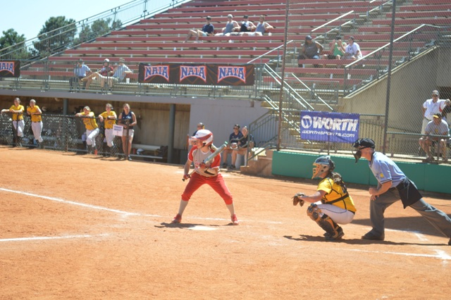 Freshman Kasey Kanaga squares around as if she's going to bunt.