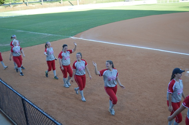 Some of the ladies as they make their way around the field for the Parade of Champions.