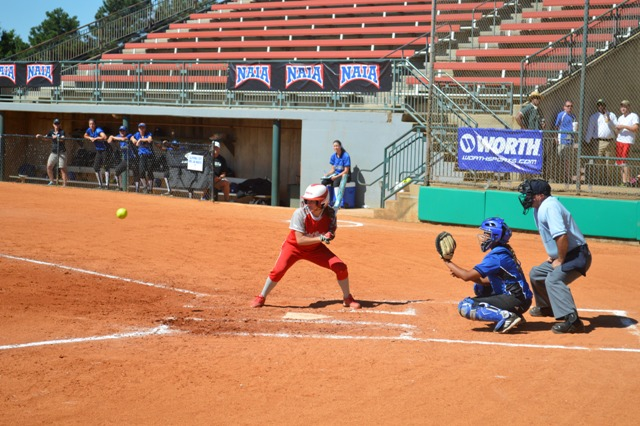 Freshman Kasey Kanaga gets a good look at a pitch during the game.