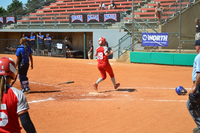 Freshman Denise Anderson scores the go-ahead run as a pinch runner in the fourth inning.