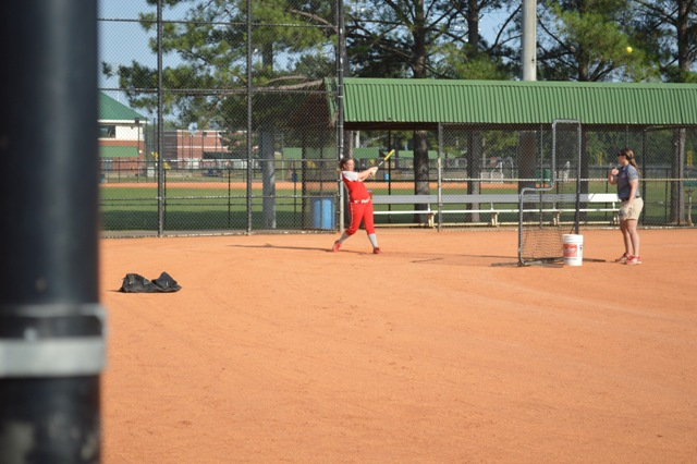 Sophomore Amanda Hainlen during batting practice.
