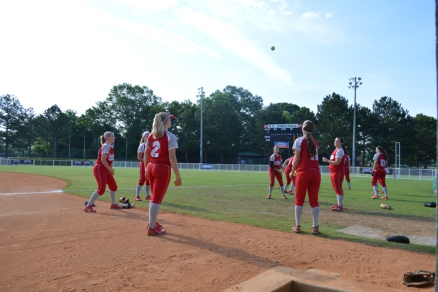 Some of the ladies playing a game of 'Hot Potato' before the game.