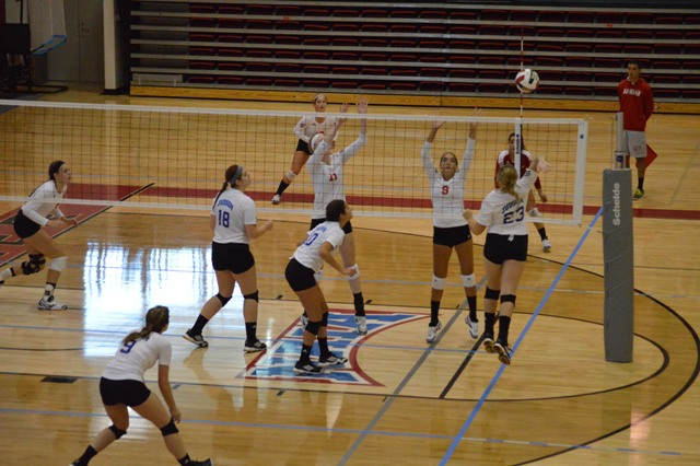 SXU Women's Volleyball vs Spring Arbor (Mich.) and Judson (Ill.) 8/31/13 - Photo 45