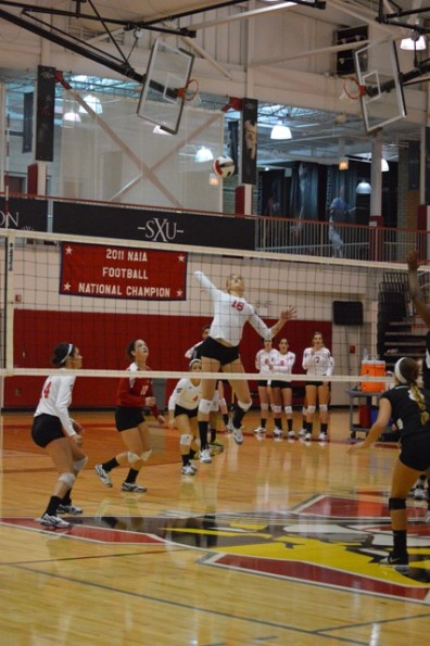 6th SXU Women's Volleyball vs Roosevelt (Ill.) 10/1/13 Photo