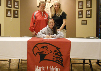 Megan James poses with Myra Minuskin and Marist coach Denise Bromberek (right)