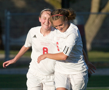 Nancy Schueth (#8) and Kelly Steinhaus (#6) connected on the game's first goal Friday