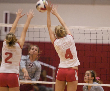 Sophomore Kayla Mullaney (#2) led SXU with 11 kills and seven digs Tuesday