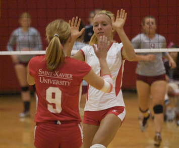 Junior Erin Sebo had a match-best eight service aces Friday
