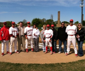 SXU Baseball's four seniors and their families were honored prior to the start of Friday's game