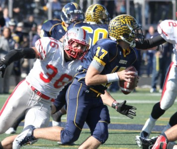 Senior Michael Prosser became SXU's all-time sacks leader the last time SXU met Marian