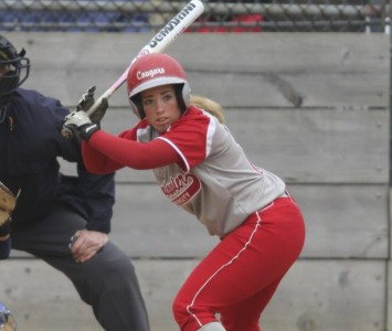 Sophomore Ariel Hinton had five total hits in Sunday's sweep of Lindenwood-Belleville