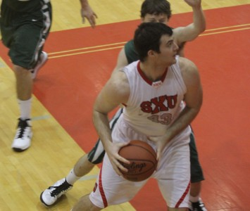 Senior Brian Sherwood led SXU defensively with three blocked shots and two steals Saturday against IUSB