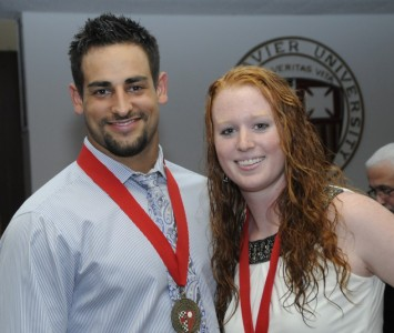 Michael Prosser and Brittany Jones were awarded SXU's O'Brien Medallions last Thursday