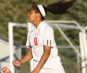 Sophomore Anita Balciunas scored three goals in SXU's 9-0 win over Holy Cross Saturday