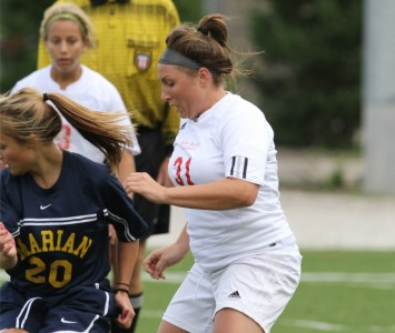 Senior Brittany DeRiggi scored Saint Xavier's second goal of the game Saturday