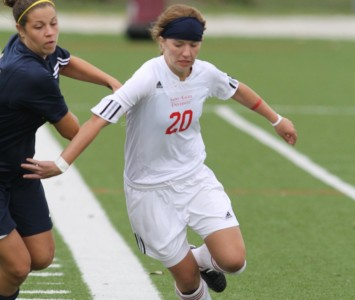 Junior Elysha Peele scored the first goal for the Cougars Saturday