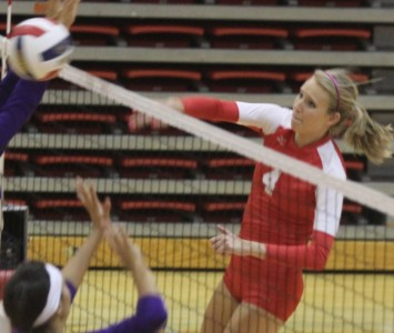 Senior Kim Scudder had eight kills and three blocks for Saint Xavier Tuesday
