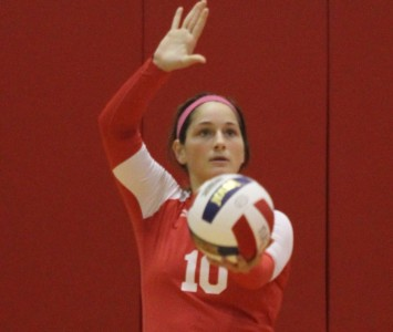 Sophomore Dominique Aramburu had four aces and match-best 31 digs Tuesday against RU