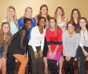 Saint Xavier University women's basketball team prior to the NAIA annual banquet in Sioux City, Iowa