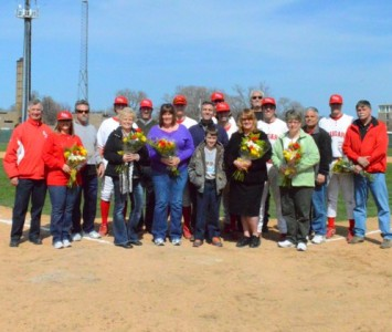The six seniors on the 2013 SXU baseball team were honored with their parents prior to Friday's game