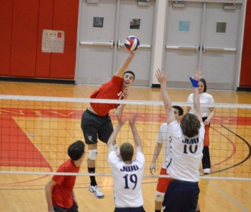 Junior Jacob Siska tied a program record with six service aces Monday night.