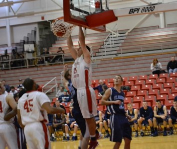 Junior Brad Karp led all scorers with 24 points against Saint Ambrose University (Iowa) Friday